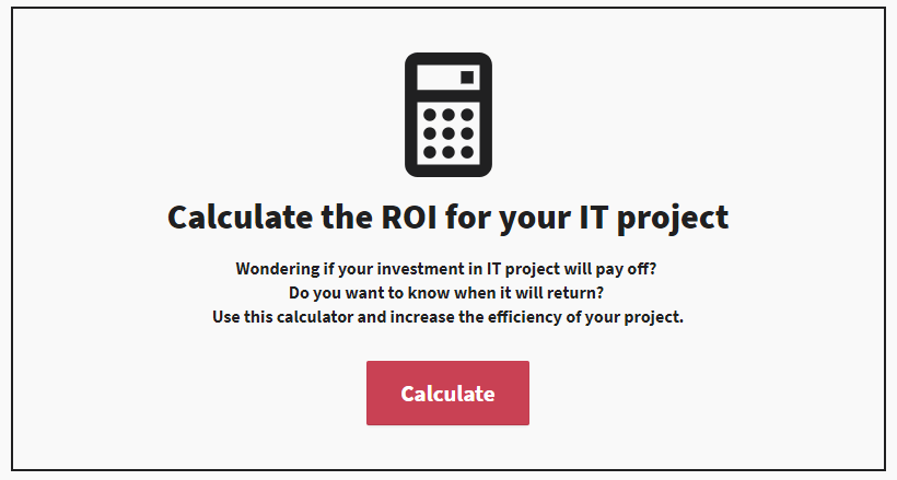 programa osftware house ROI calulator budget in IT