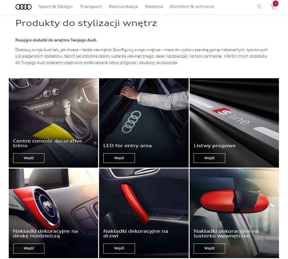 Audi accessories avalaible in online shop implemented by Programa