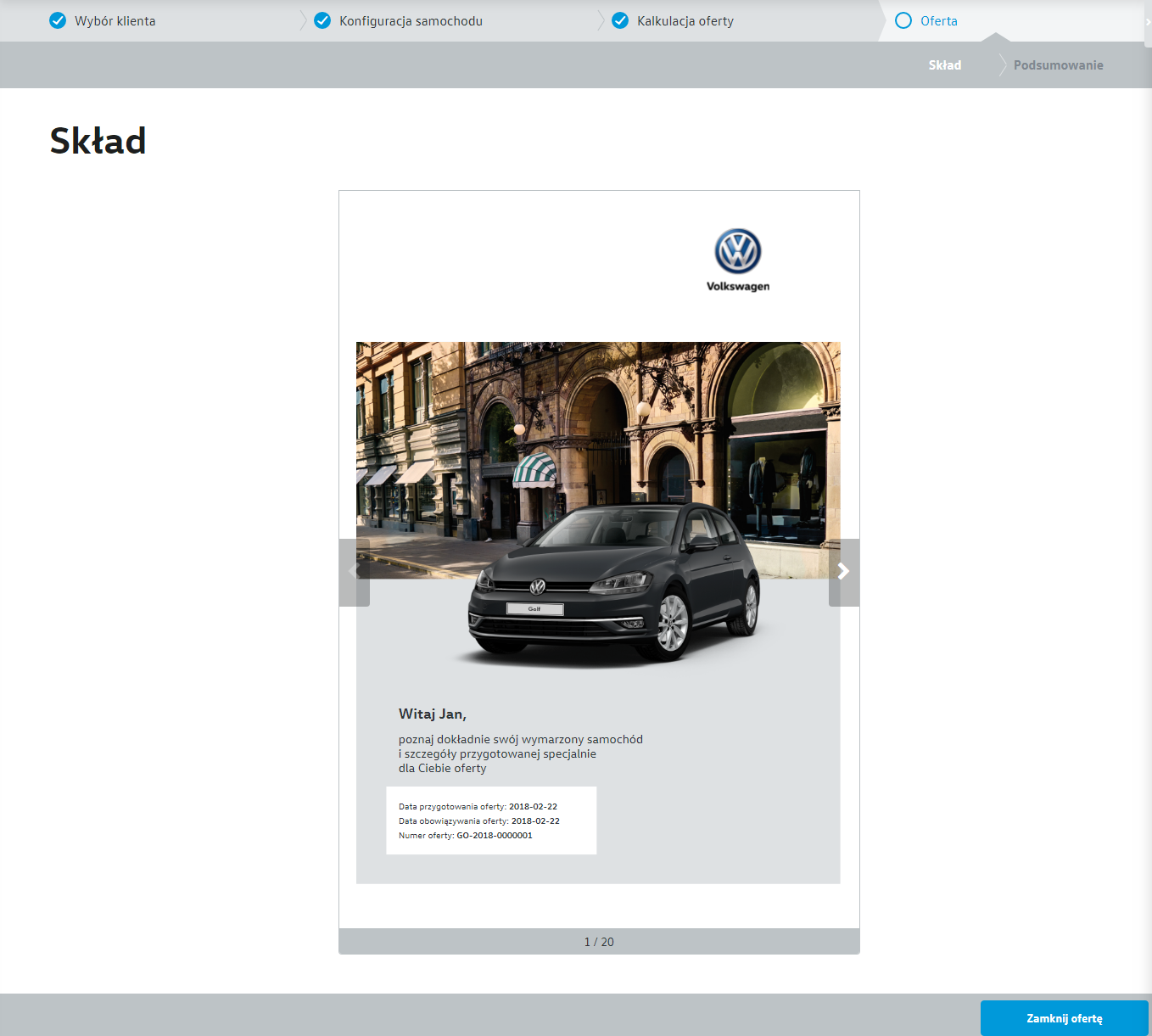 Volkswagen Offer Generator - generation created by Programa